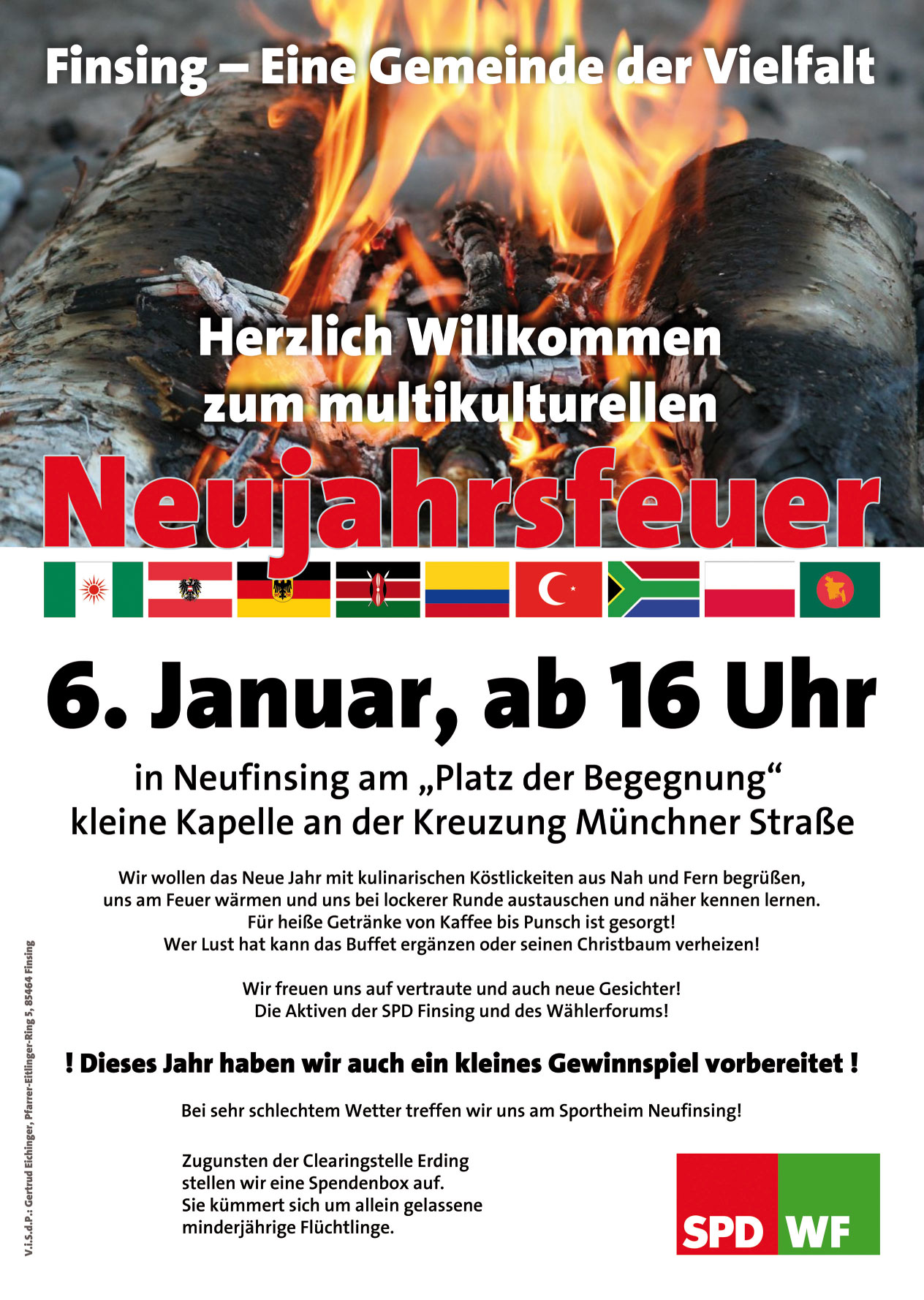 Neujahrsfeuer in Neufinsing am 06.01.2014