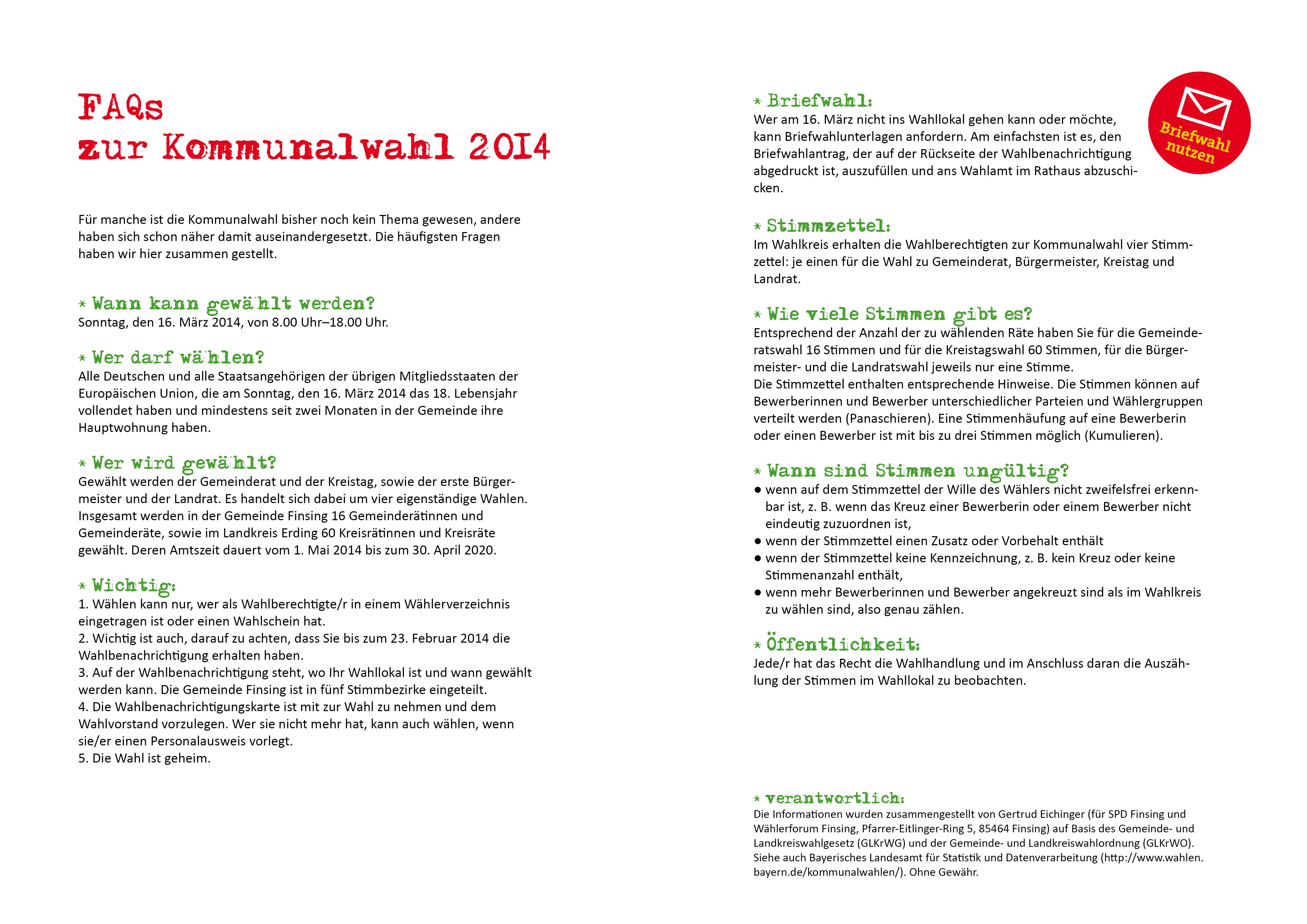 FAQ's zur Kommunalwahl 2014