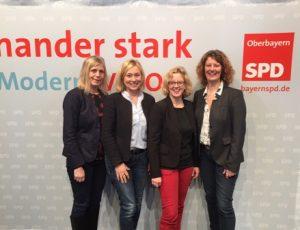 Auf dem Foto: Ulla Dieckmann, Doris Rauscher ( stellv. Bezirksvorsitzende Platz 3), Natascha Kohnen, Spitzenkandidatin der Oberbayern und BayernSPD, Gertrud Eichinger (Platz 5)