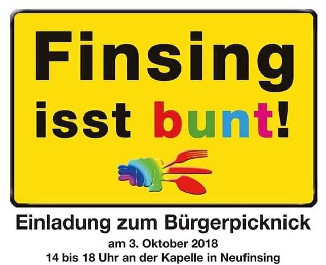 Finsing isst Bunt - Einladung zum Bürgerpicknick am 3.10.2018