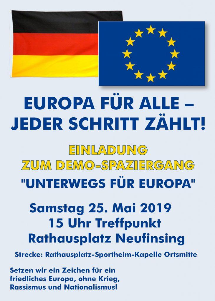 """Europa für alle - Jeder Schritt zählt - Einladung zum Demo-Spaziergang """"Unterwegs für Europa"""" am 25.5. um 15Uhr"""