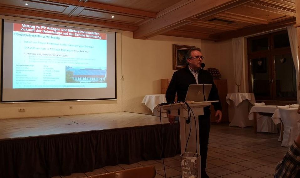 Vortrag zu Photovoltaik am 30.1.2020 beim Faltermeier