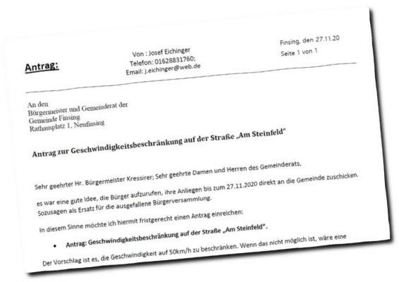 """Antrag zur Geschwindigkeitsbeschränkung auf der Straße """"Am Steinfeld"""""""