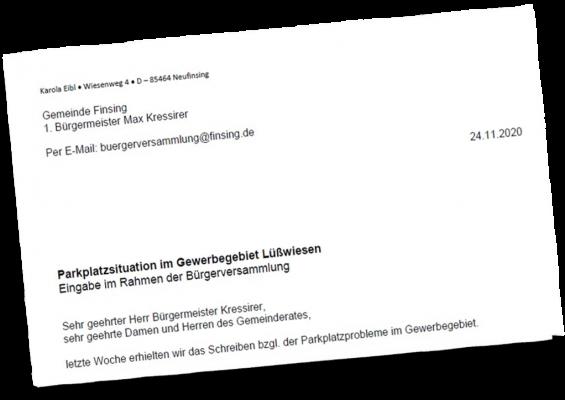 Antrag: Parkplatzsituation im Gewerbegebiet Lüßwiesen